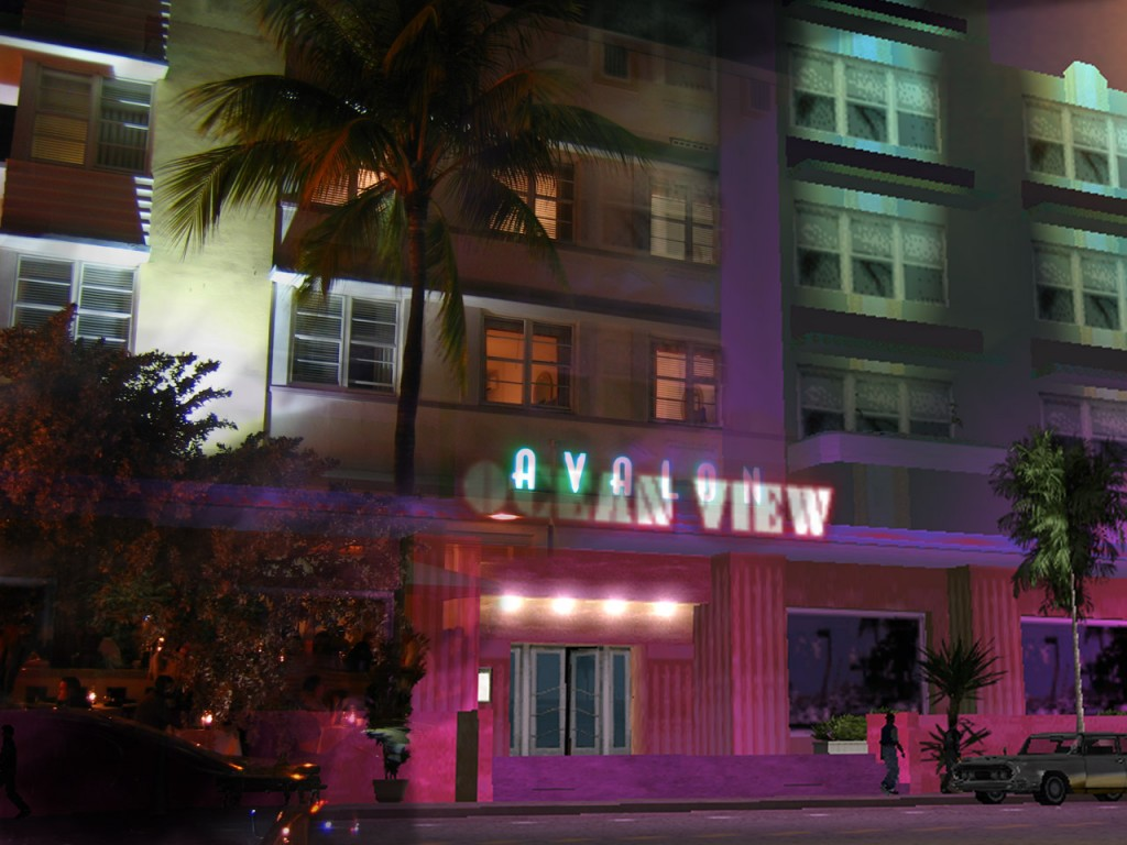 Vice City overlaid on a photo of the Avalon Hotel, Miami Beach