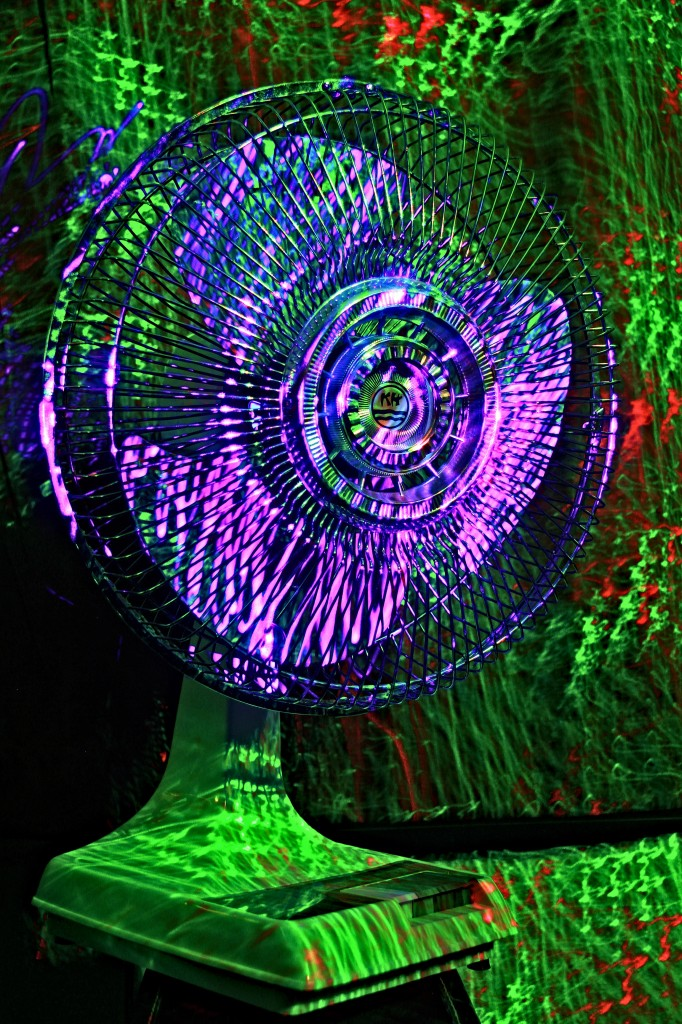 """Kuo Horng 12"""" oscillating desk fan, light painted"""