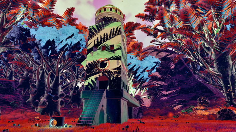 Sunset on some ruins in a lush jungle world in No Man's Sky