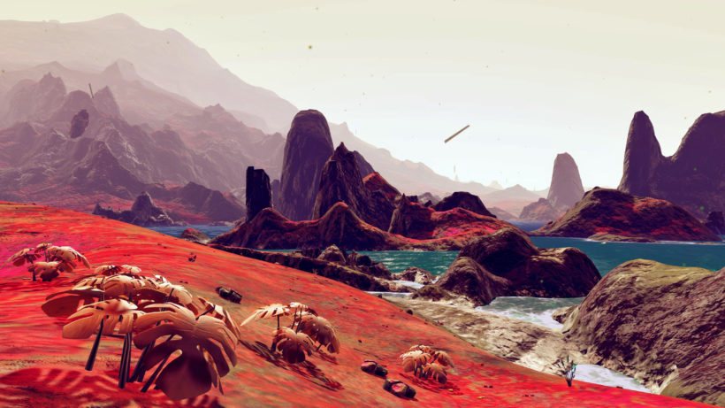 red mountains and blue seas in No Man's Sky